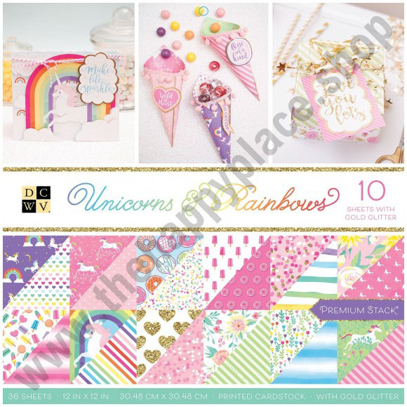 American Crafts DCWV 30,5x30,5cm x36 unicorns & rainbows