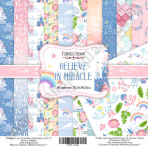 Double-sided scrapbooking paper set Believe in miracle