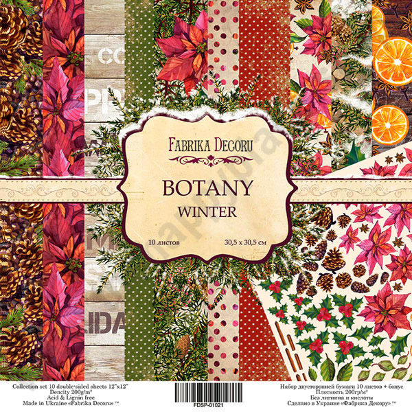 Double-sided scrapbooking paper set Botany winter
