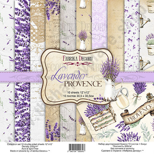 Double-sided scrapbooking paper set Lavender Provence