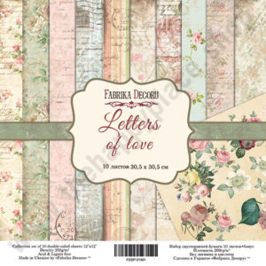 Double-sided scrapbooking paper set Letters of love