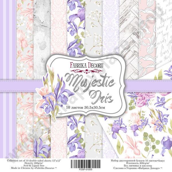 Double-sided scrapbooking paper set Majestic Iris