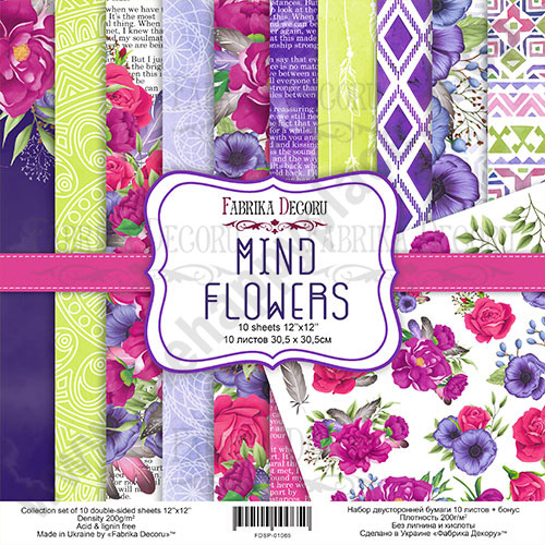 Double-sided scrapbooking paper set Mind Flowers