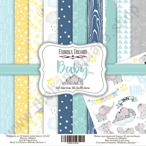 Double-sided scrapbooking paper set My little baby boy