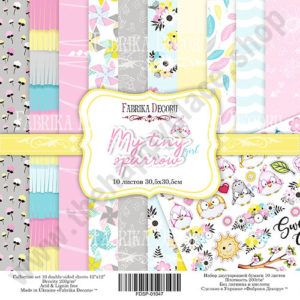 Double-sided scrapbooking paper set My tiny sparrow girl