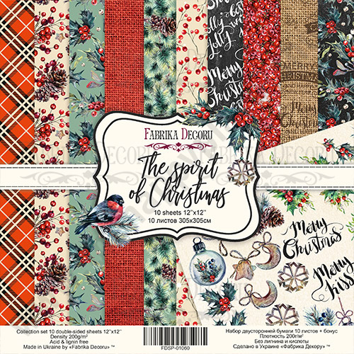 Double-sided scrapbooking paper set The spirit of Christmas